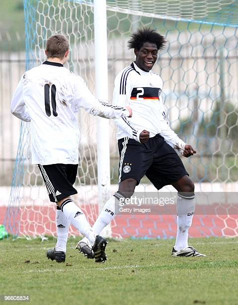 Sonny Kittel and Danny Da Costa Vieira of Germany celebrate scoring a goal during the U17 friendly international match between Greece and Germany at...