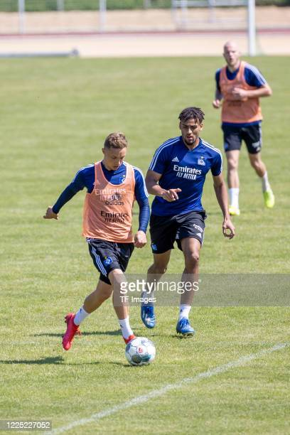 Sonny Kittel of Hamburger SV and Josha Vagnoman of Hamburger SV during the training session of Hamburger SV on May 16 2020 in Herzogenaurach Germany