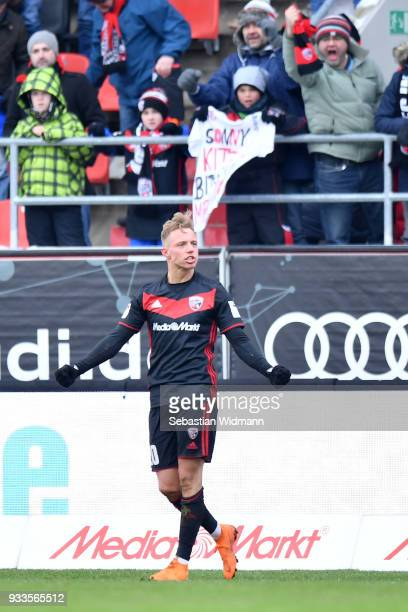 Sonny Kittel of Ingolstadt celebrates after scoring his teams third goal during the Second Bundesliga match between FC Ingolstadt 04 and SG Dynamo...