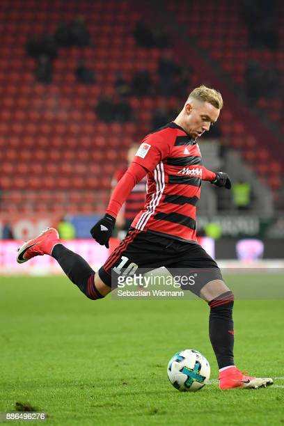Sonny Kittel of Ingolstadt plays the ball during the Second Bundesliga match between FC Ingolstadt 04 and Eintracht Braunschweig at Audi Sportpark on...