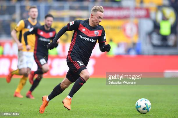 Sonny Kittel of Ingolstadt runs with the ball during the Second Bundesliga match between FC Ingolstadt 04 and SG Dynamo Dresden at Audi Sportpark on...