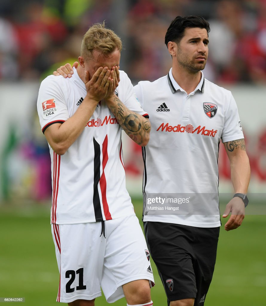 Sonny Kittel of Ingolstadt shows his disappointment after the Bundesliga match between SC Freiburg and FC Ingolstadt 04 at Schwarzwald-Stadion on May 13, 2017 in Freiburg im Breisgau, Germany.