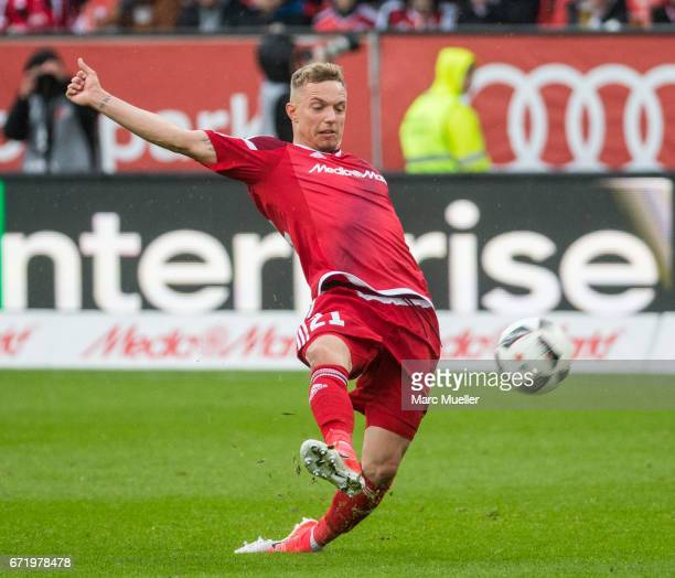 Sonny Kittel of Ingolstadt with ball during the Bundesliga match between FC Ingolstadt 04 and Werder Bremen at Audi Sportpark on April 22 2017 in...