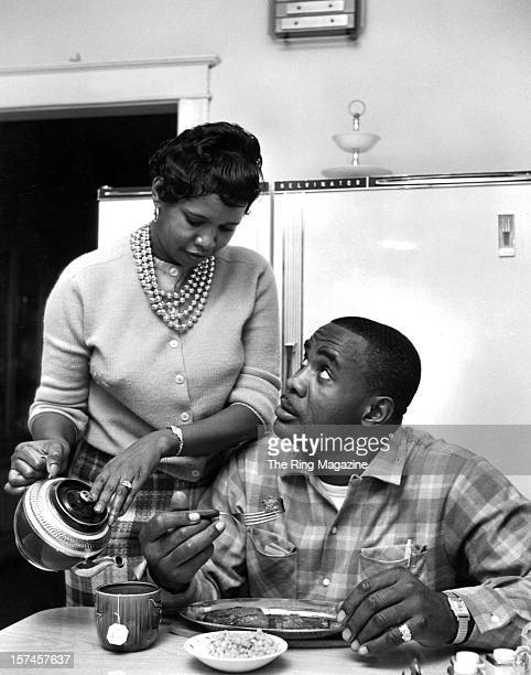 Sonny Liston eats with his wife at home in December 1961 in PhiladelphiaPennsylvania