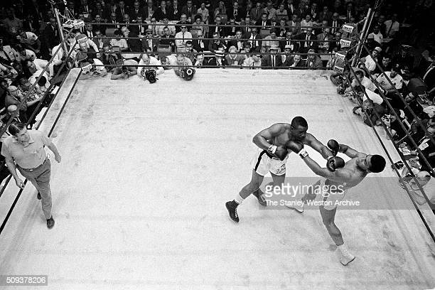 Sonny Liston in action lands a left jab vs Cassius Clay at the Convention Center in Miami Beach Florida February 25 1964 Cassius Clay won the World...