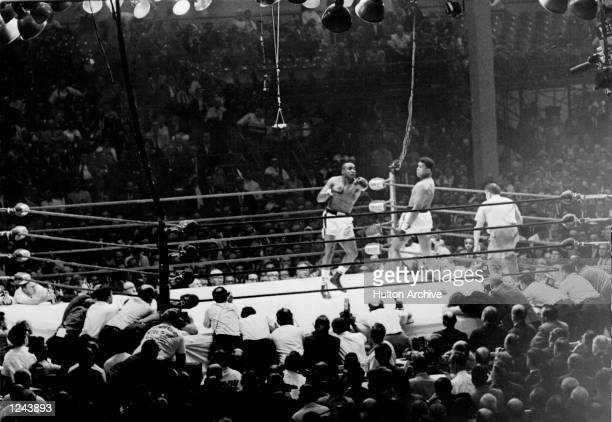 Sonny Liston looses his Heavyweight title to Classius Clay after seven rounds at the Miami Beach Convention Hall on February 25 1964 in Miami Beach...
