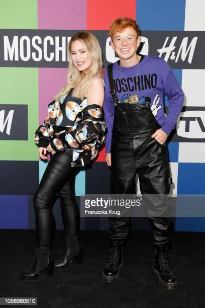 Sonny Loops and Erik Scholz attend the Moschino tv HM preshopping event on November 7 2018 in Berlin Germany