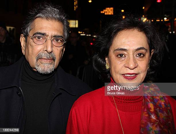 Sonny Mehta and Gita Mehta attend the Private Lives Broadway opening night at the Music Box Theatre on November 17 2011 in New York City