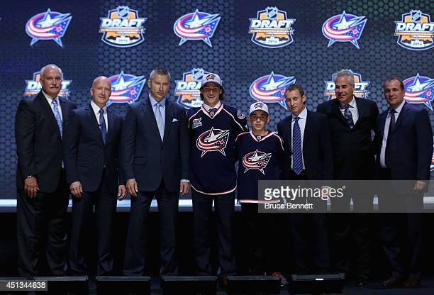 Sonny Milano is selected sixteenth overall by the Columbus Blue Jackets in the first round of the 2014 NHL Draft at the Wells Fargo Center on June 27...