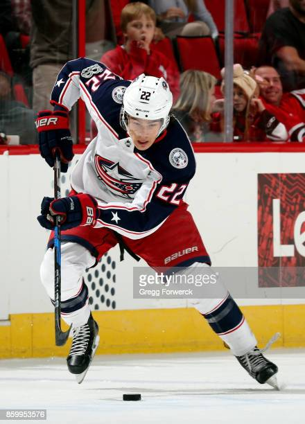 Sonny Milano of the Columbus Blue Jackets carries the puck into the offensive zone on a breakaway leading to a gamewinning goal in overtime against...