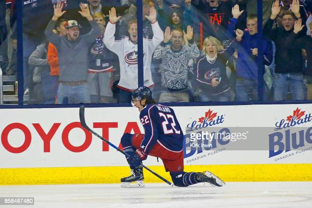 Sonny Milano of the Columbus Blue Jackets celebrates after scoring his first NHL career goal during the first period of the game against the New York...