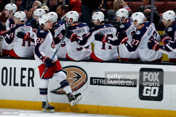 Sonny Milano of the Columbus Blue Jackets celebrates his first period goal with his teammates during the game against the Anaheim Ducks on March 2...