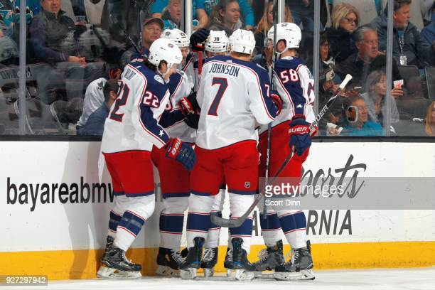 Sonny Milano of the Columbus Blue Jackets celebrates his first period goal against the San Jose Sharks with teammates at SAP Center on March 4 2018...