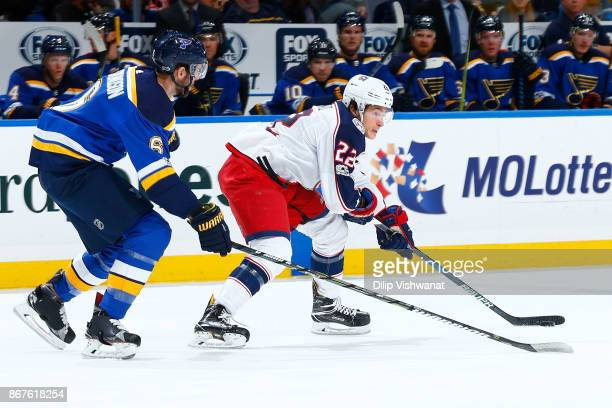 Sonny Milano of the Columbus Blue Jackets handles the puck against the St Louis Blues at Scottrade Center on October 28 2017 in St Louis Missouri