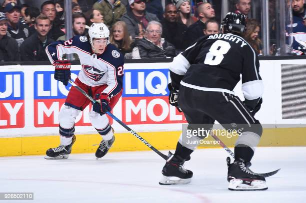 Sonny Milano of the Columbus Blue Jackets handles the puck during a game against the Los Angeles Kings at STAPLES Center on March 1 2018 in Los...