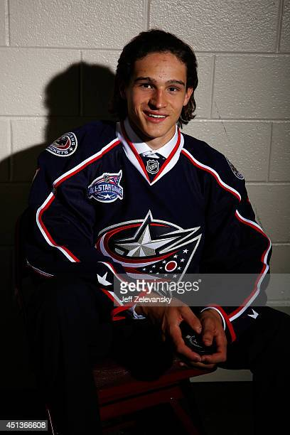 Sonny Milano of the Columbus Blue Jackets poses for a portrait during the 2014 NHL Draft at the Wells Fargo Center on June 27 2014 in Philadelphia...