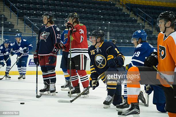 Sonny Milano of the Columbus Blue Jackets Ryan Hartman of the Chicago Blackhawks Jack Eichel of the Buffalo Sabres Kasperi Kapanen of the Toronto...