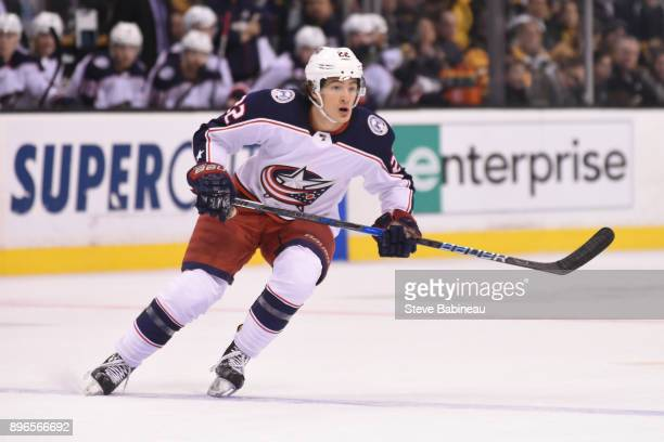Sonny Milano of the Columbus Blue Jackets skates against the Boston Bruins at the TD Garden on December 18 2017 in Boston Massachusetts