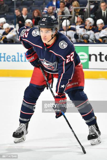 Sonny Milano of the Columbus Blue Jackets skates against the Buffalo Sabres on October 25 2017 at Nationwide Arena in Columbus Ohio