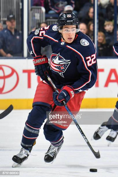Sonny Milano of the Columbus Blue Jackets skates against the Calgary Flames on November 22 2017 at Nationwide Arena in Columbus Ohio