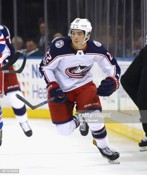Sonny Milano of the Columbus Blue Jackets skates against the New York Rangers at Madison Square Garden on November 6 2017 in New York City The...