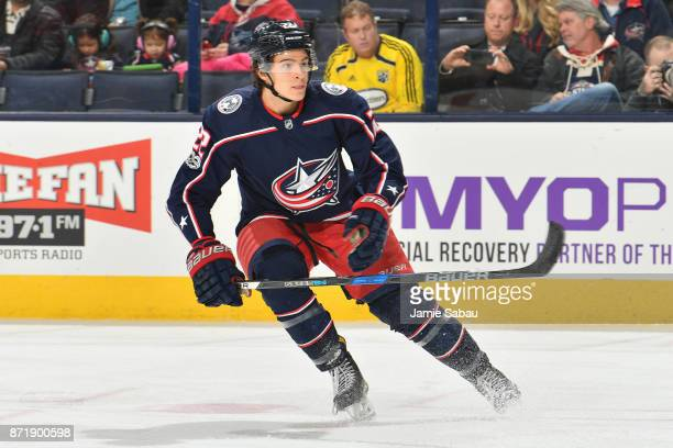 Sonny Milano of the Columbus Blue Jackets skates against the Nashville Predators on November 7 2017 at Nationwide Arena in Columbus Ohio