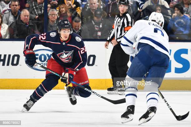 Sonny Milano of the Columbus Blue Jackets skates against the Toronto Maple Leafs on December 20 2017 at Nationwide Arena in Columbus Ohio