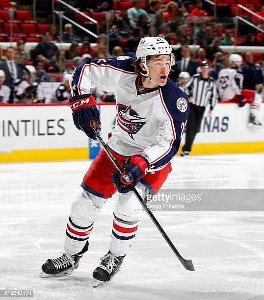 Sonny Milano of the Columbus Blue Jackets skates for position on the ice during an NHL game against the Carolina Hurricanes at PNC Arena on April 2...