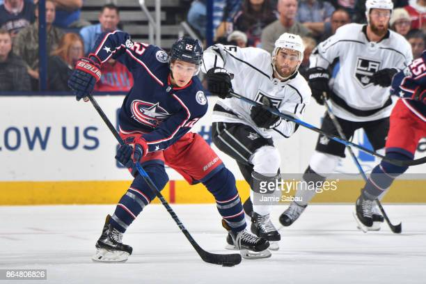 Sonny Milano of the Columbus Blue Jackets skates with the puck during the second period of a game against the Los Angeles Kings on October 21 2017 at...