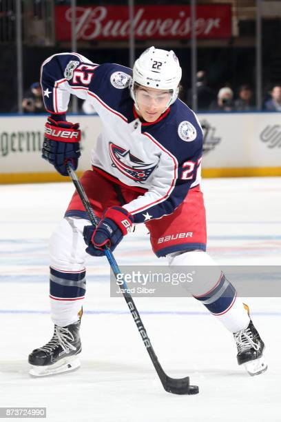 Sonny Milano of the Columbus Blue Jackets skates with the puck against the New York Rangers at Madison Square Garden on November 6 2017 in New York...
