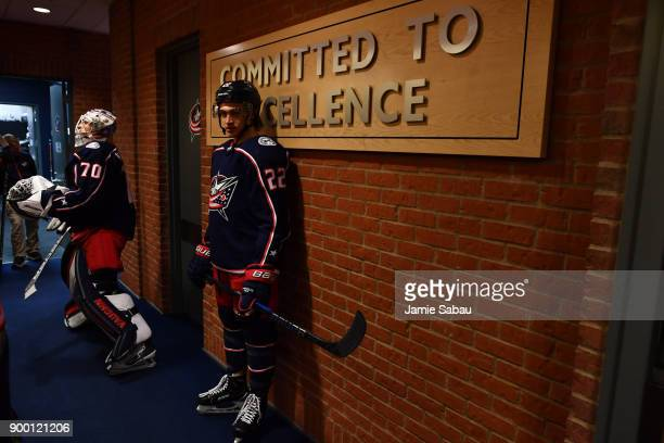 Sonny Milano of the Columbus Blue Jackets waits to take the ice for pregame warmups prior to a game against the Tampa Bay Lightning on December 31...