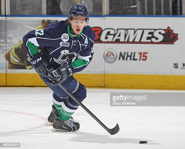 Sonny Milano of the Plymouth Whalers skates with the puck against the London Knights in an OHL game at Budweiser Gardens on December 12 2014 in...