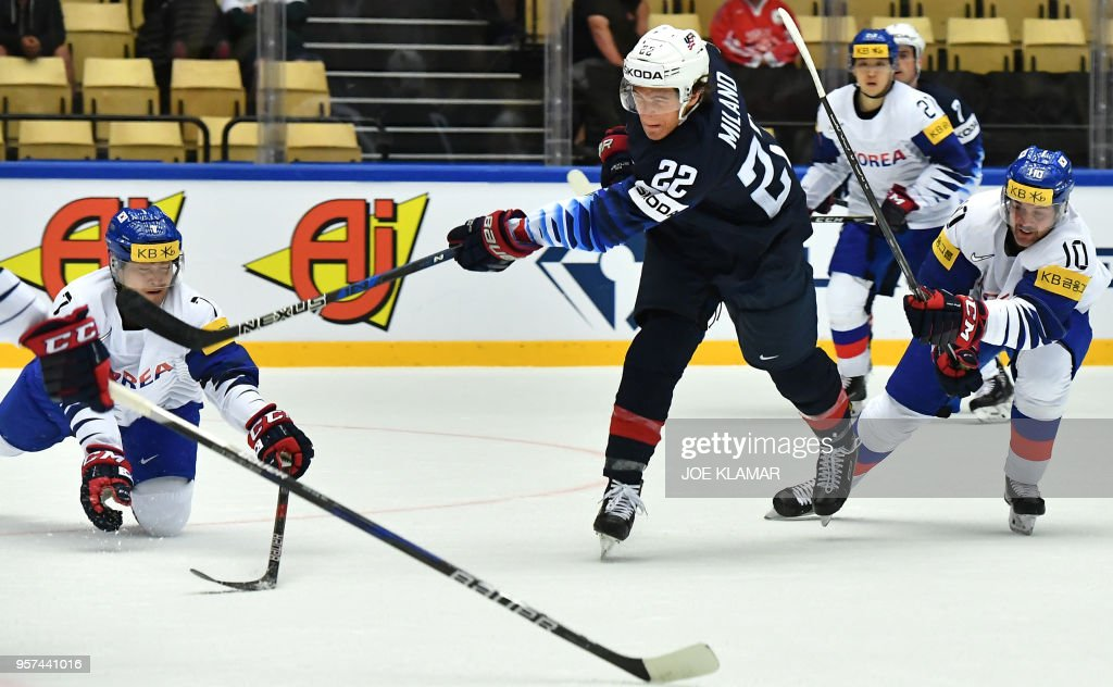 Sonny Milano of the United States shoots a puck during the group B match USA versus South Korea of the 2018 IIHF Ice Hockey World Championship at the Jyske Bank Boxen in Herning, Denmark, on May 11, 2018.