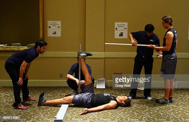 Sonny Milano performs a test during the Functional Movement screening at the NHL Combine May 29 2014 at the Westin Bristol in Toronto Ontario Canada