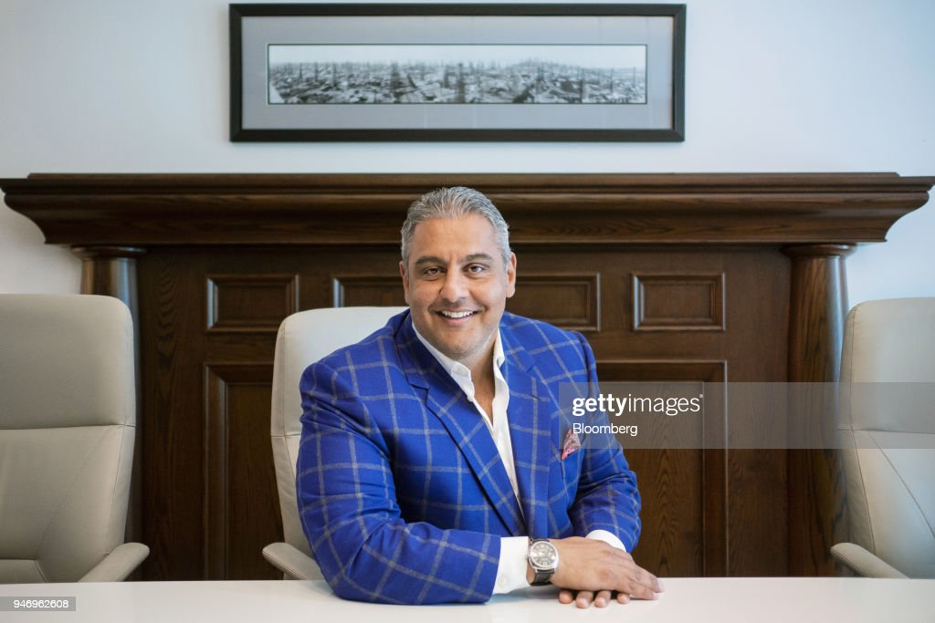 Sonny Mottahed, co-founder and chief executive officer of 51st Parallel, sits for a photograph at the company's office in Calgary, Alberta, Canada, on Thursday, April 12, 2018. After 25 years in the oil patch, most recently running his own advisory firm, Mottahed is striking out into the pot business. He's intrigued by the potential of the nascent industry as Canada prepares to legalize recreational marijuana this year, while dismayed at the challenges facing the oil patch. Photographer: Chris Bolin/Bloomberg via Getty Images