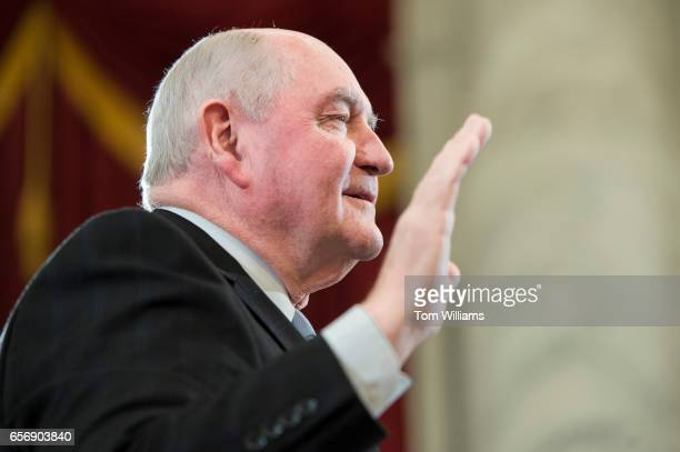 Sonny Perdue nominee for Secretary of Agriculture is sworn in during his Senate Agriculture Committee confirmation hearing in Russell Building March...