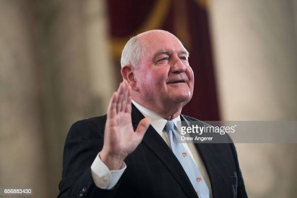 Sonny Perdue President TrumpÕs nominee to lead the Agriculture Department is swornin during his confirmation hearing before the Senate Committee on...