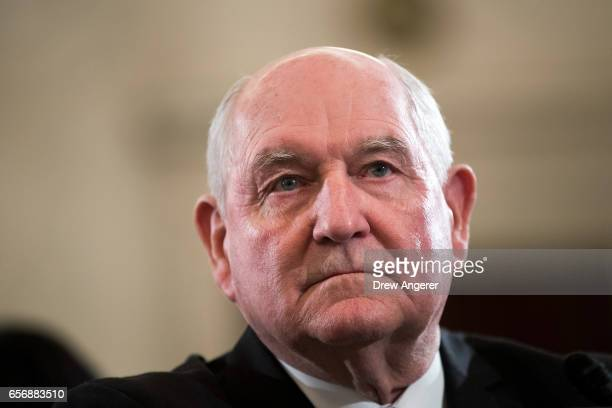 Sonny Perdue President TrumpÕs nominee to lead the Agriculture Department looks on during his confirmation hearing before the Senate Committee on...