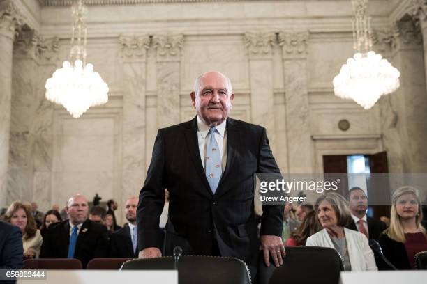 Sonny Perdue President TrumpÕs nominee to lead the Agriculture Department takes his seat as he arrives for his confirmation hearing before the Senate...