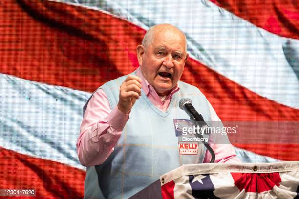 Sonny Perdue, U.S. Secretary of agriculture, speaks during a GOP election night party in Atlanta, Georgia, U.S., on Tuesday, Jan. 5, 2021....