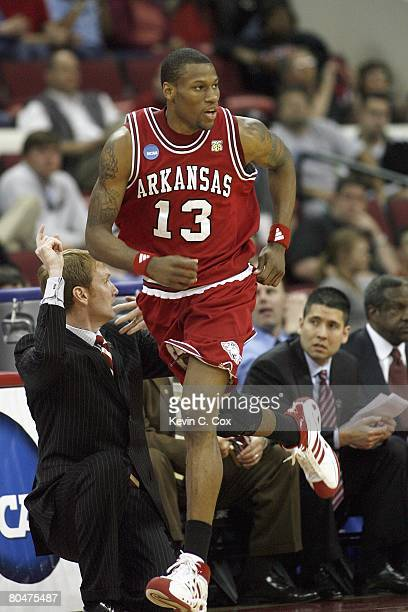 Sonny Weems of the Arkansas Razorbacks jogs downcourt against the Indiana Hoosiers during the 1st round of the 2008 NCAA Men's Basketball Tournament...