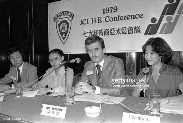 Sonny Yau Jennifer Yu Joe Murphy and Evanda Li attending a Jaycees press conference 26MAY79