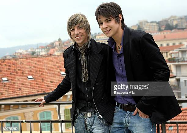 Sonohra Luca and Diego Fainello poses at the Teatro Ariston on March 01 2008 in Sanremo Italy Fainello's brothers won the first prize award at the...