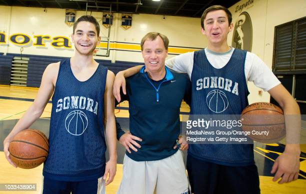 Sonora High School basketball players Josh Rodriguez, at left, and Ben Rico with their coach Mike Murphy. ///ADDITIONAL INFORMATION: Ð MINDY...