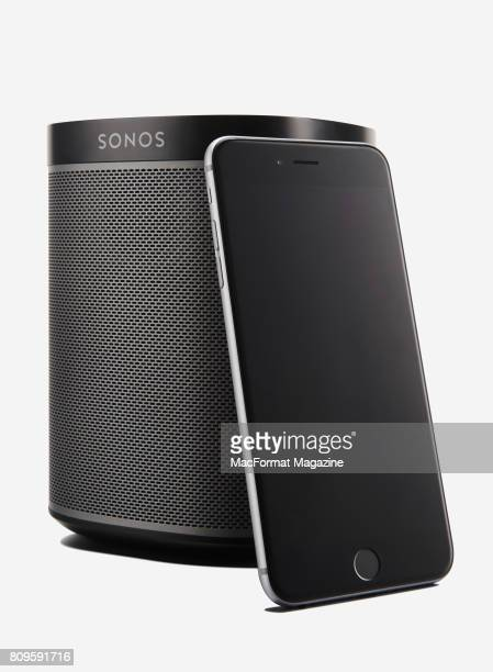 A Sonos Play 1 speaker and Apple iPhone taken on December 8 2016