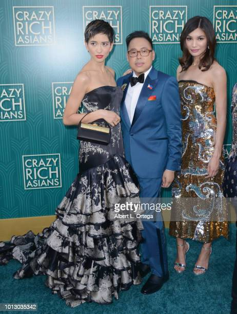 Sonoya Mizuno Nico Santos and Gemma Chan arrive for Warner Bros Pictures' Crazy Rich Asians Premiere held at TCL Chinese Theatre IMAX on August 7...