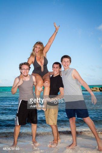 mom and son nude beach photo