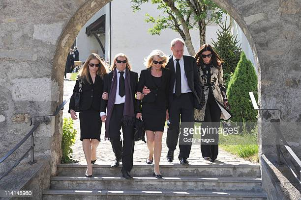 Sons Claus Alexander Halifax Sachs and Christian Sachs Mirja Larson wife of defunct Gunter Sachs and mourners attend Gunter Sachs' funeral service...