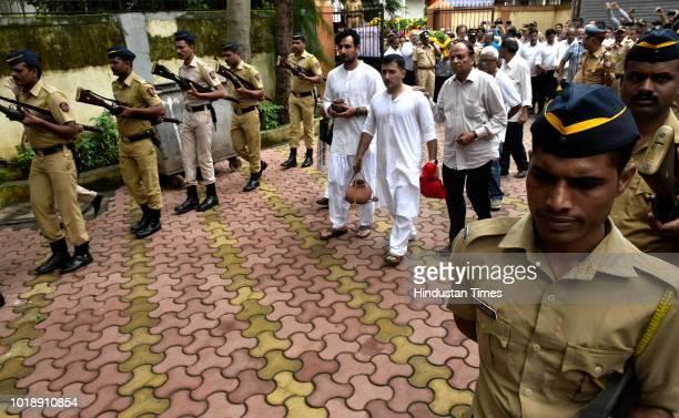 Sons of Ajit Wadekar during Funeral procession of Ajit Wadekar at Shivaji Park on August 17 2018 in Mumbai India Former India captain Ajit Wadekar...