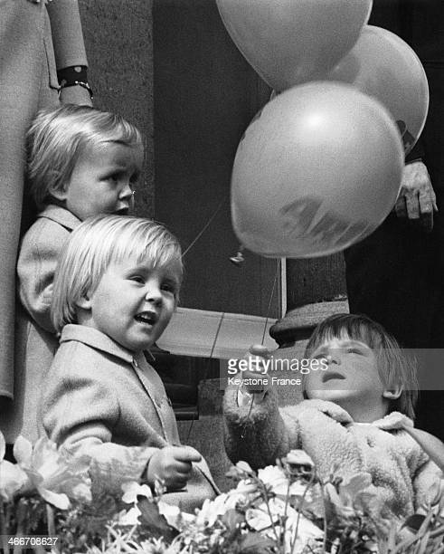 Sons of Princess Beatrix Princes Willem Alexander and Johan Friso and Prince Maurits son of Princess Margriet holding balloons at celebration of the...